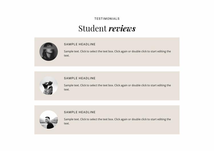 Business students reviews  Html Website Builder