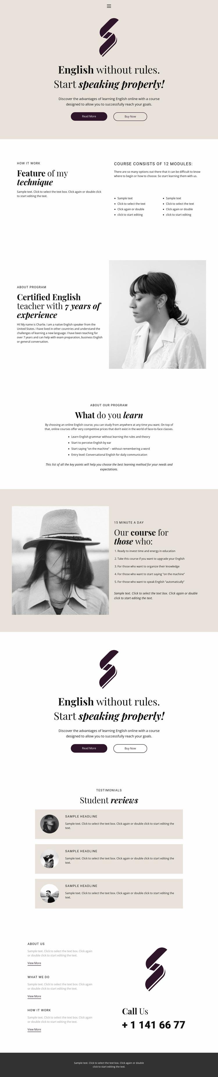 English no rules school Website Design