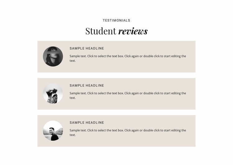 Business students reviews  Website Mockup