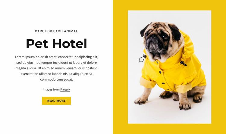 Pet and animal hotel Website Mockup