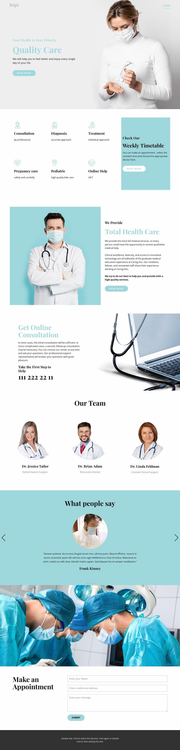 Quality medical care Website Design