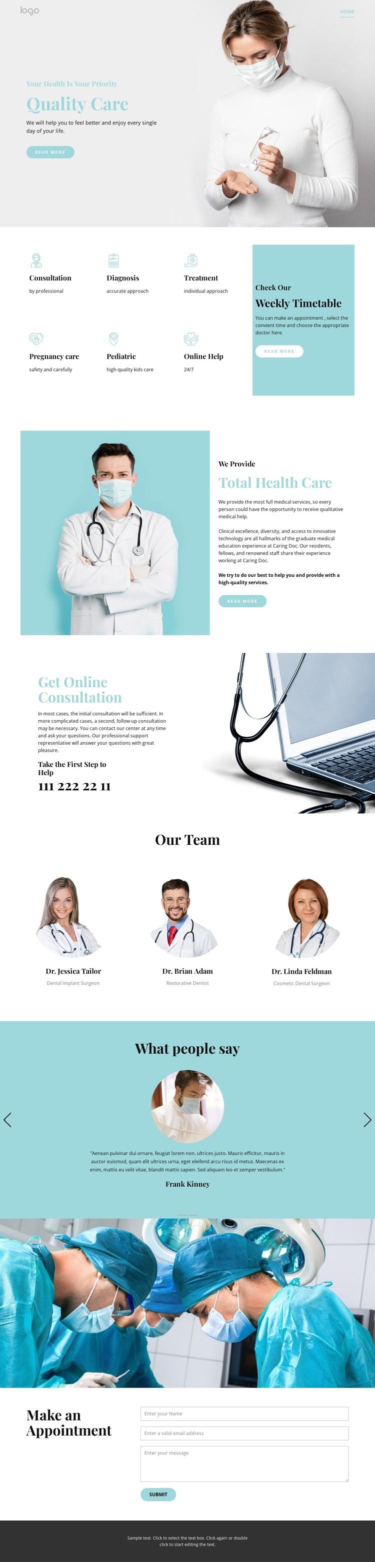 Quality medical care WordPress Theme