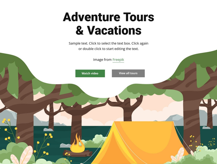 Travel tours and vacations Joomla Page Builder