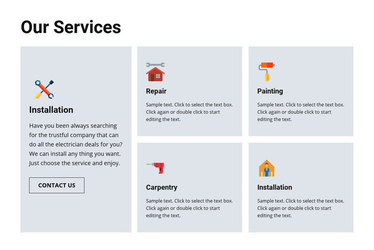 Quality repair services Homepage Design