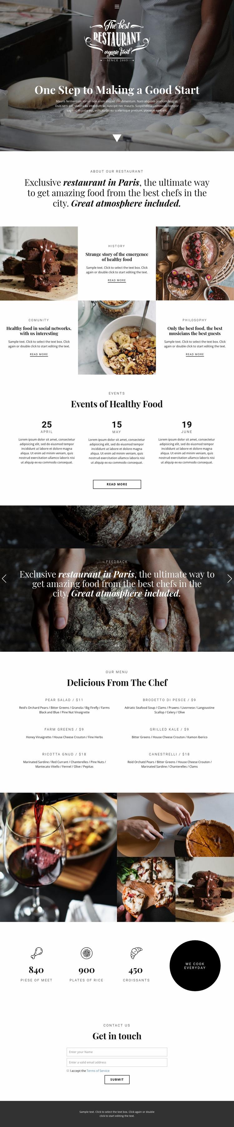 Healthy food restaurant Website Design