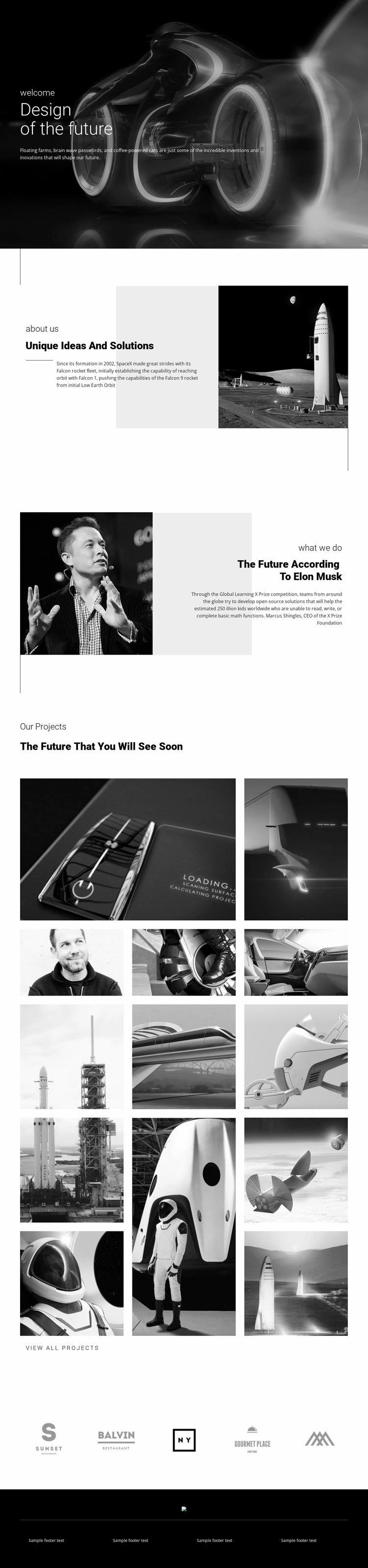 Design of future technology Website Mockup