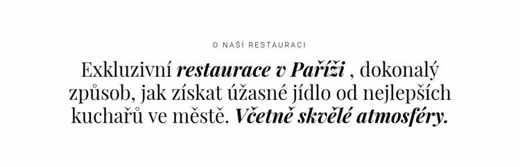 O podnikání v restauracích Šablona webové stránky