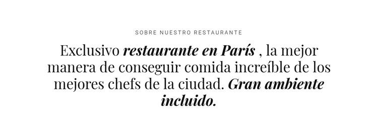 Sobre el negocio de los restaurantes Plantilla de sitio web