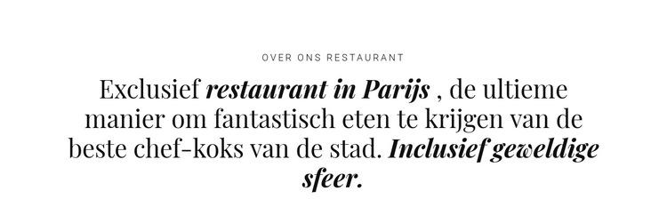 Over restaurantzaken Website sjabloon