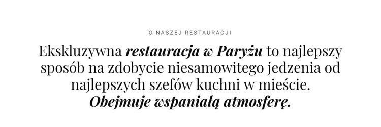 O biznesie restauracyjnym Szablon witryny sieci Web