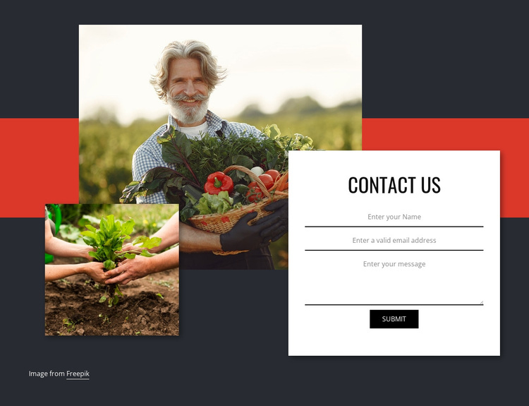 Contact us for vegetables Joomla Page Builder
