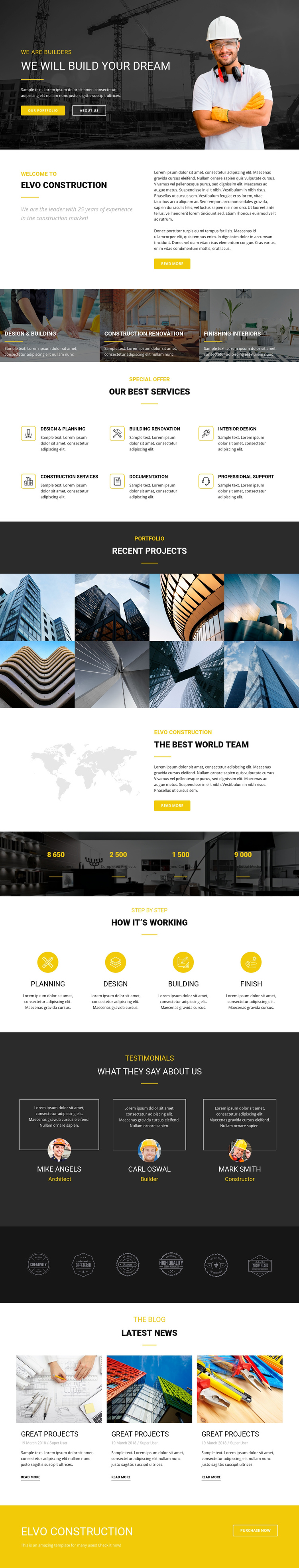 Build your dream industrial One Page Template
