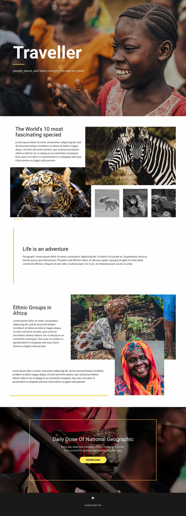 Life is an adventure Web Page Design