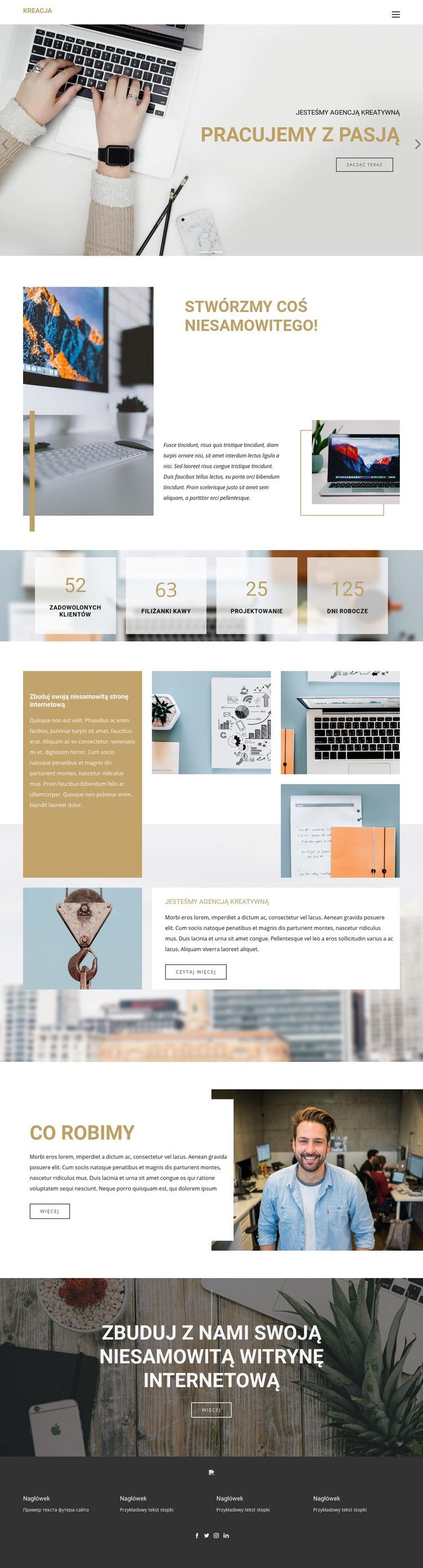 Wyjątkowe kreatywne projekty Szablon witryny sieci Web