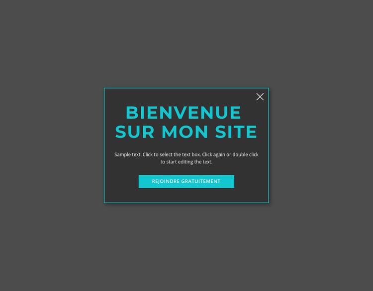 Formulaire modal de bienvenue Modèle de site Web