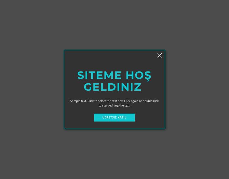 Hoşgeldin modal formu Web Sitesi Şablonu