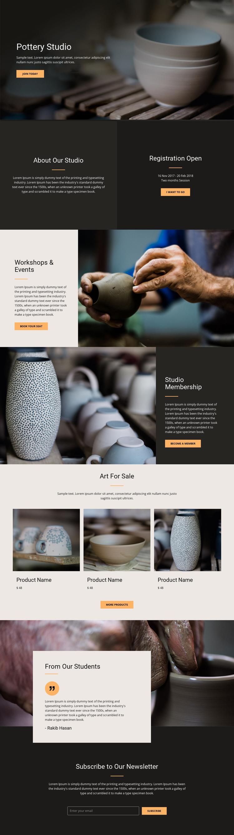 Workshop pottery art Website Builder Software