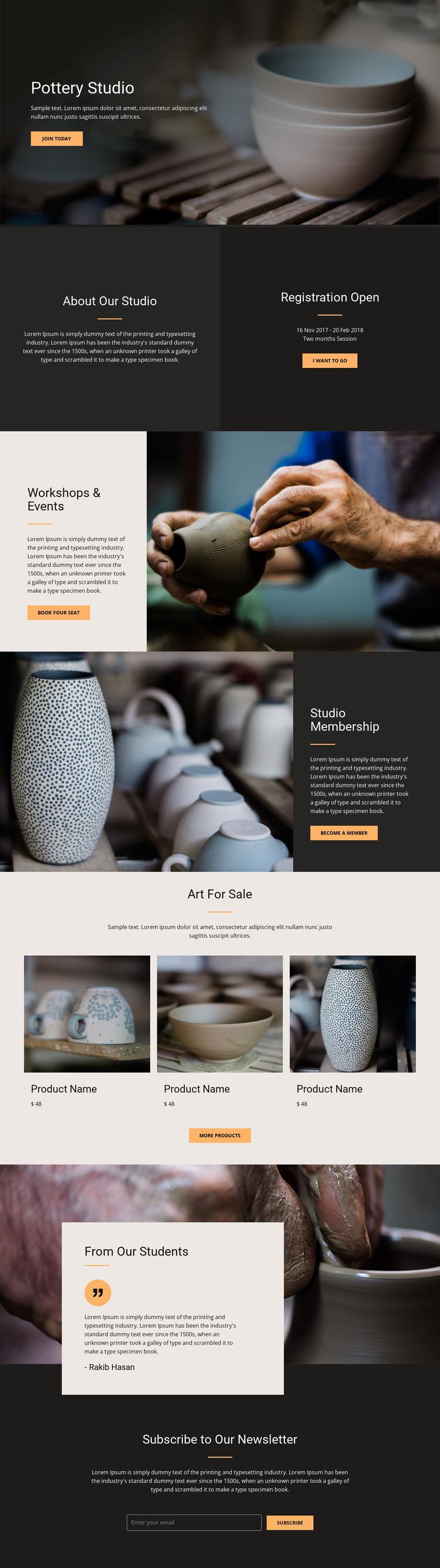 Workshop pottery art Website Mockup