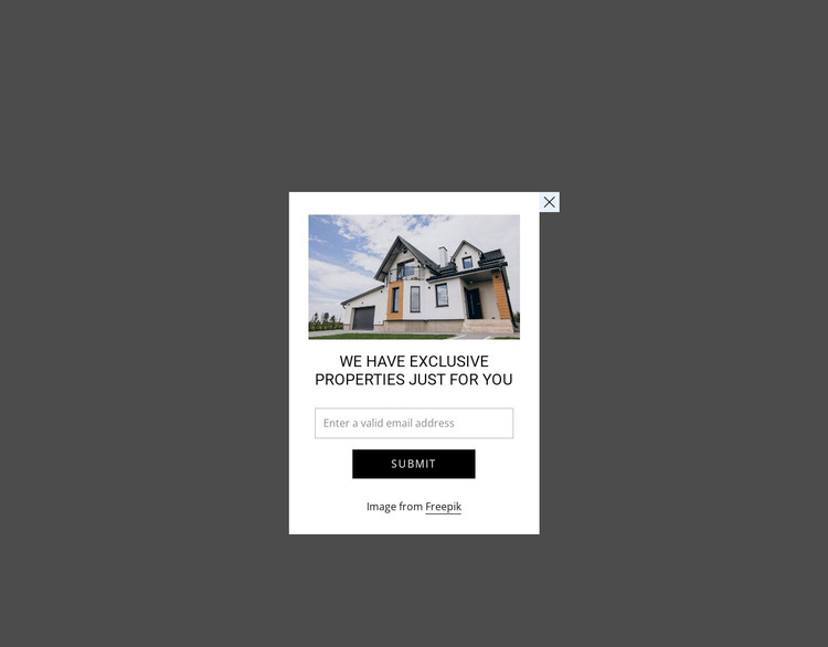Popup with image and form WordPress Theme