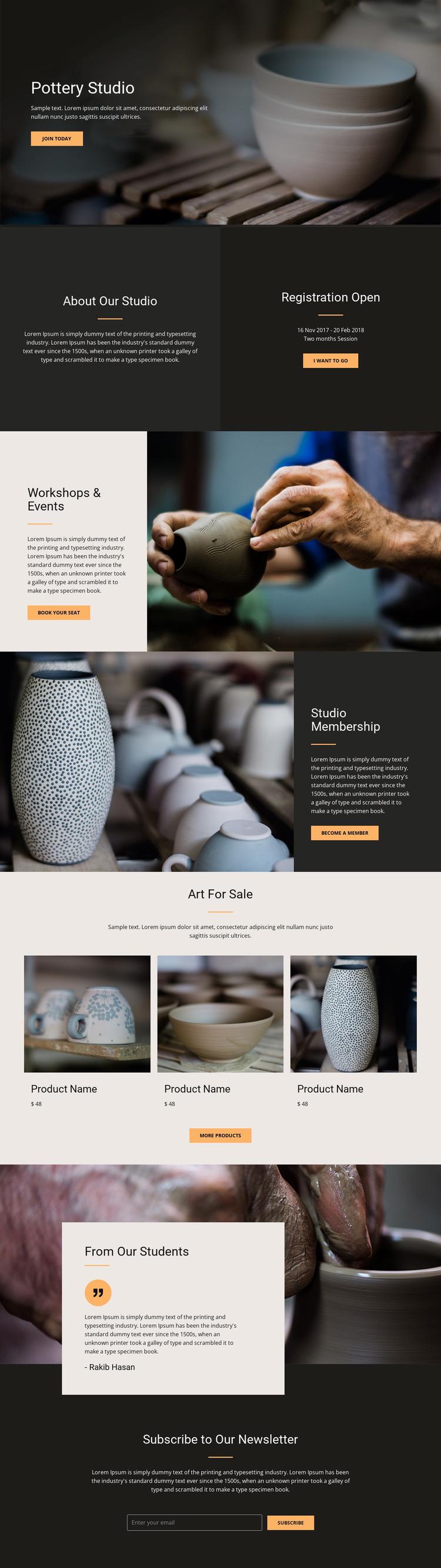 Workshop pottery art WordPress Website Builder