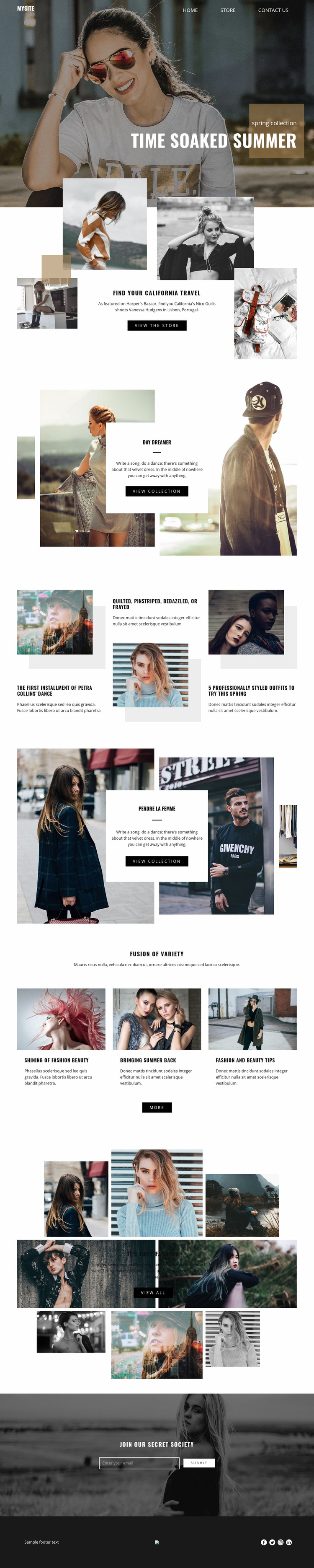 Summer time collection Landing Page