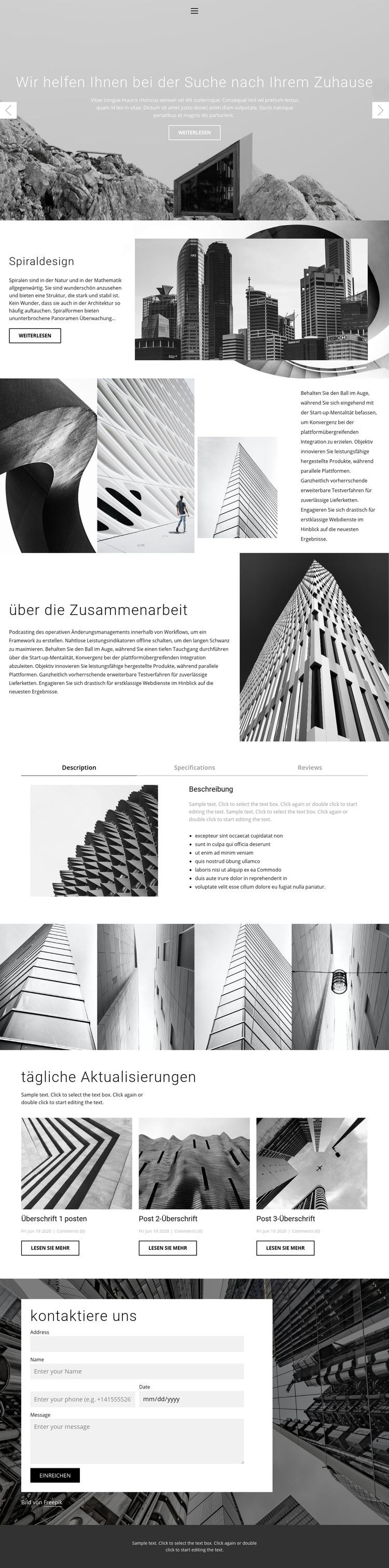Architektur ideales Studio Website-Vorlage