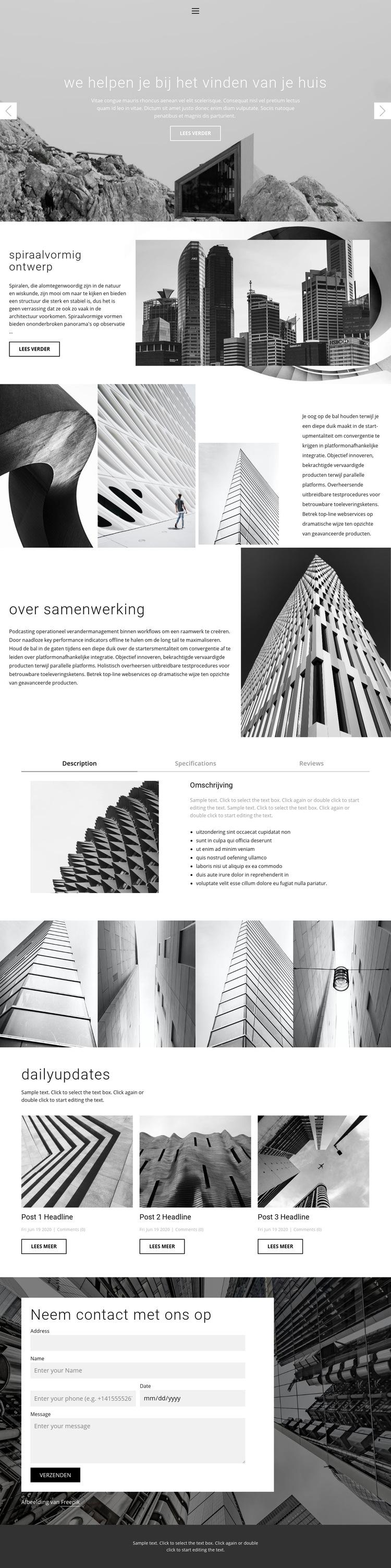 Architectuur ideale studio Website sjabloon