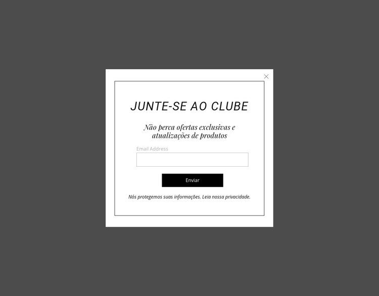 Popup de inscrição Modelo de site