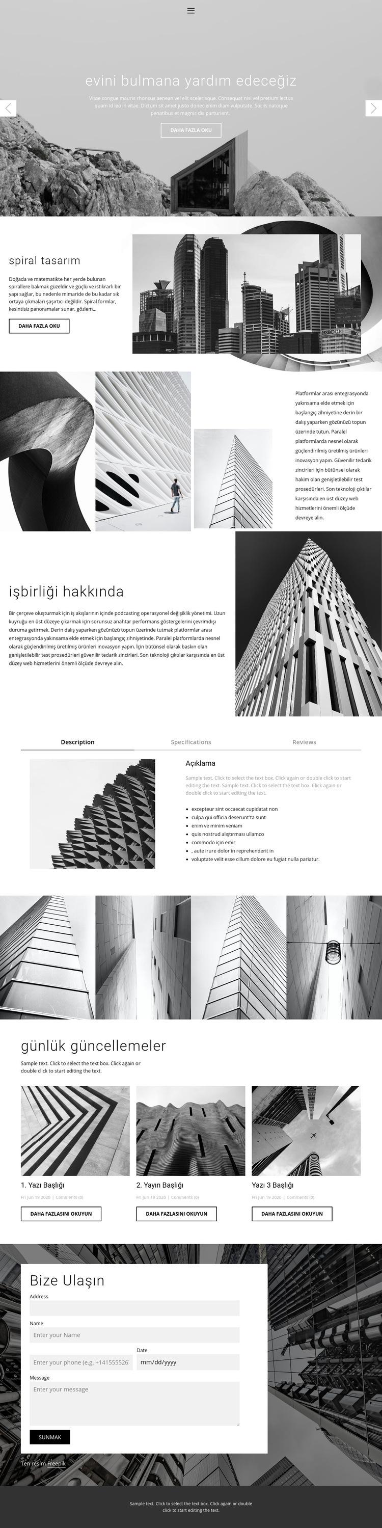 Mimari ideal stüdyo Web Sitesi Şablonu