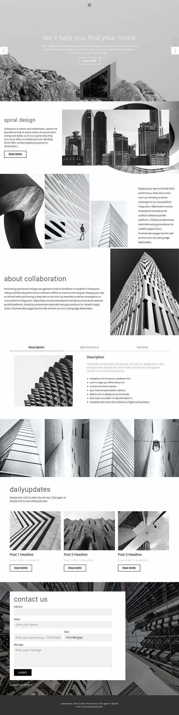 Architecture ideal studio Web Page Design