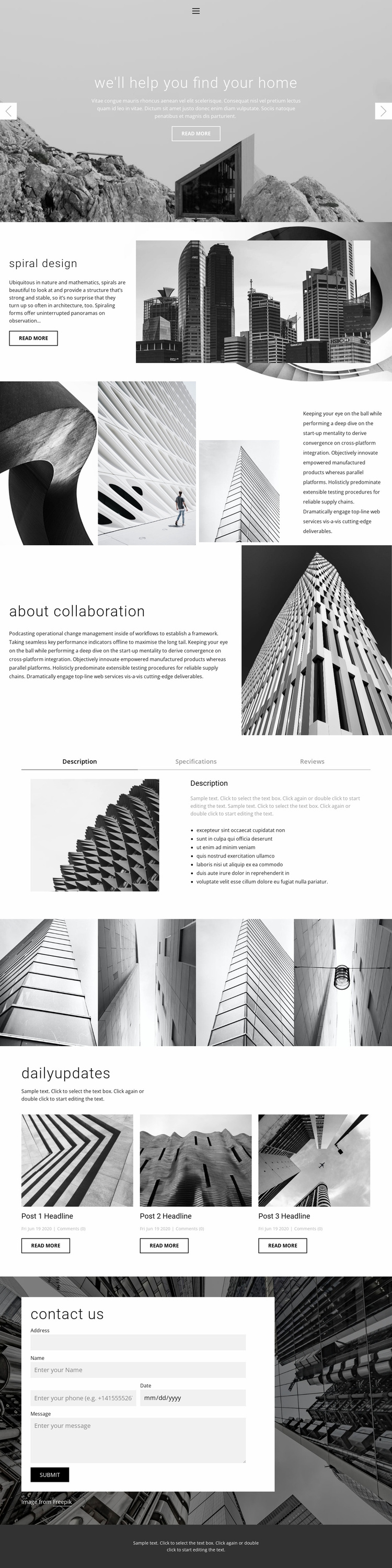 Architecture ideal studio Landing Page