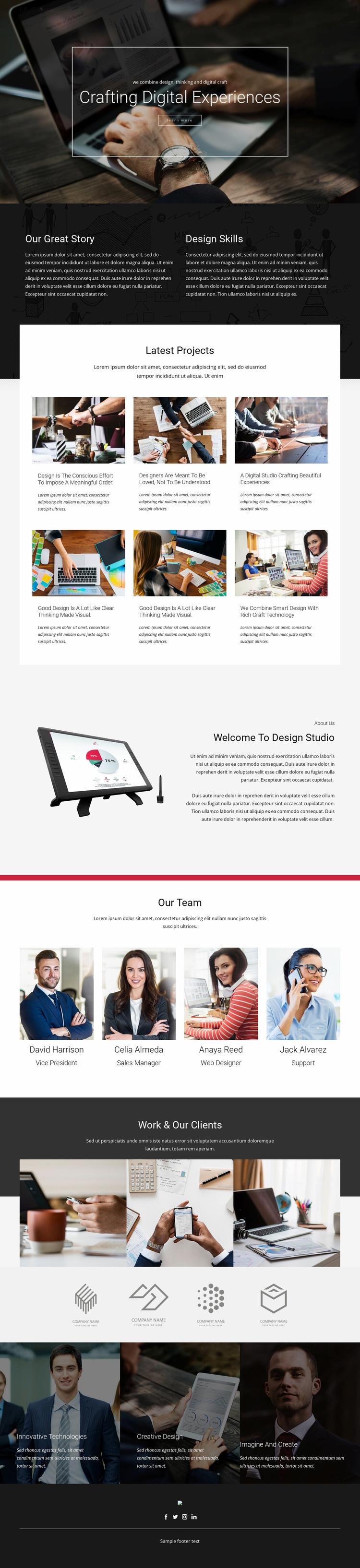 Crafting Digital Design Studio Website Template