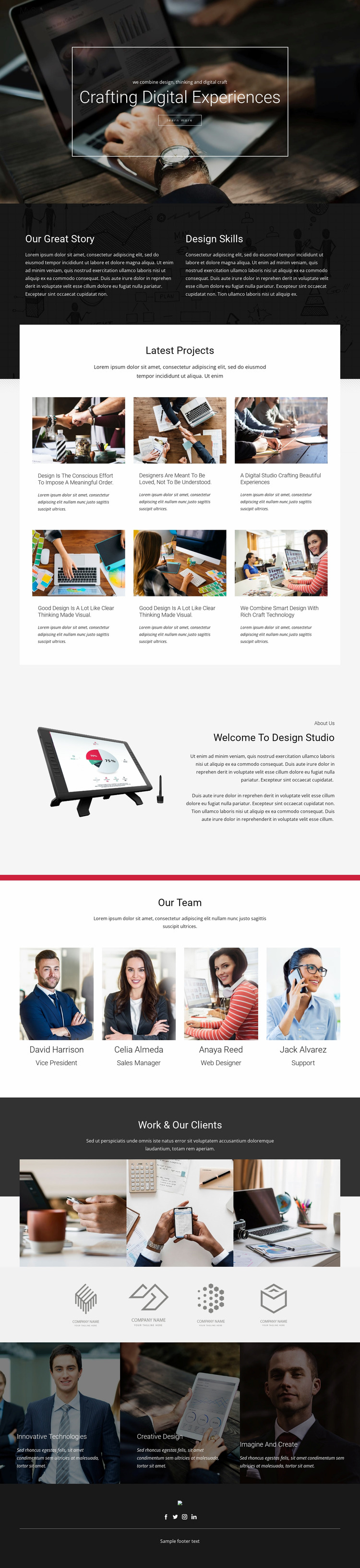 Crafting Digital Design Studio WordPress Website Builder