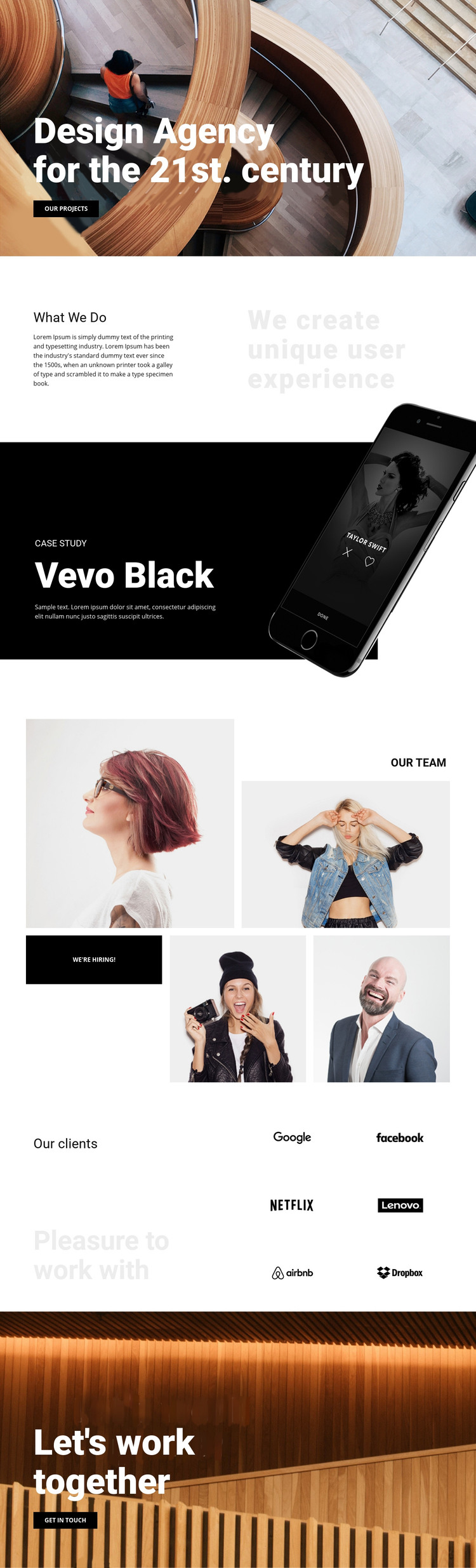 Our work is your success Homepage Design