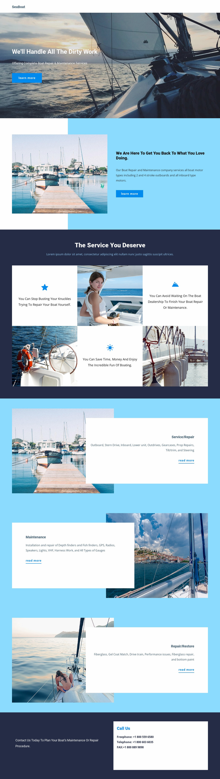 Travel on Seaboat Website Template
