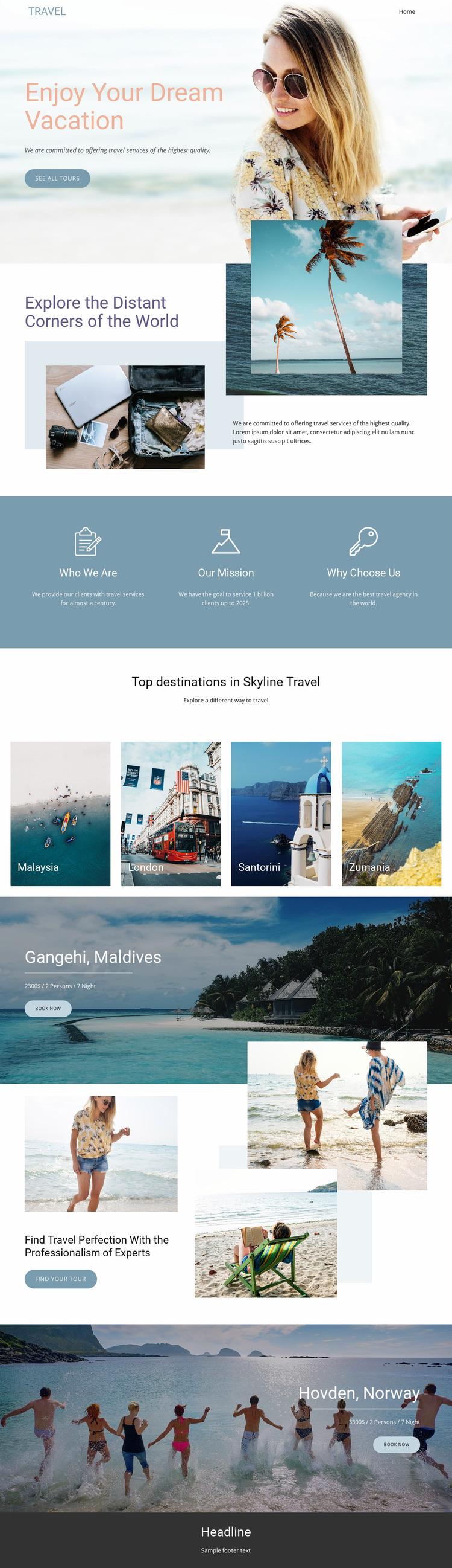 Dream Travel Agency Website Mockup