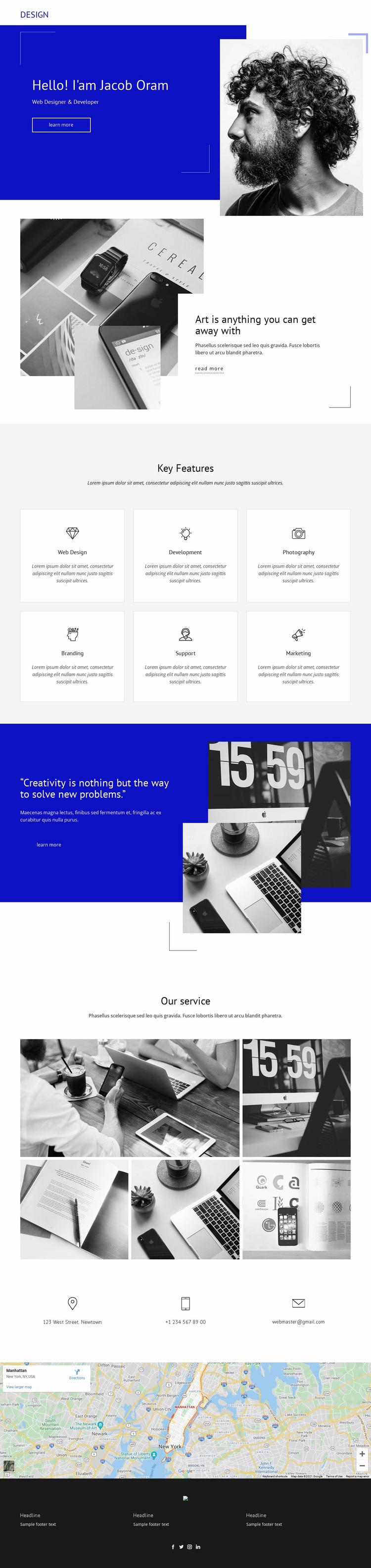 Jacob Oram Portfolio Website Design