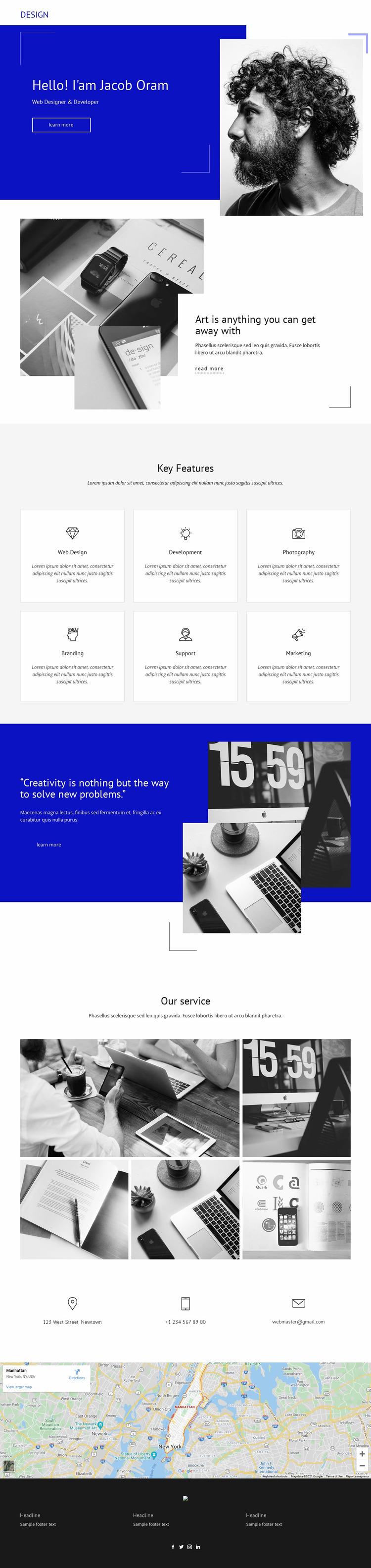 Jacob Oram Portfolio Website Mockup