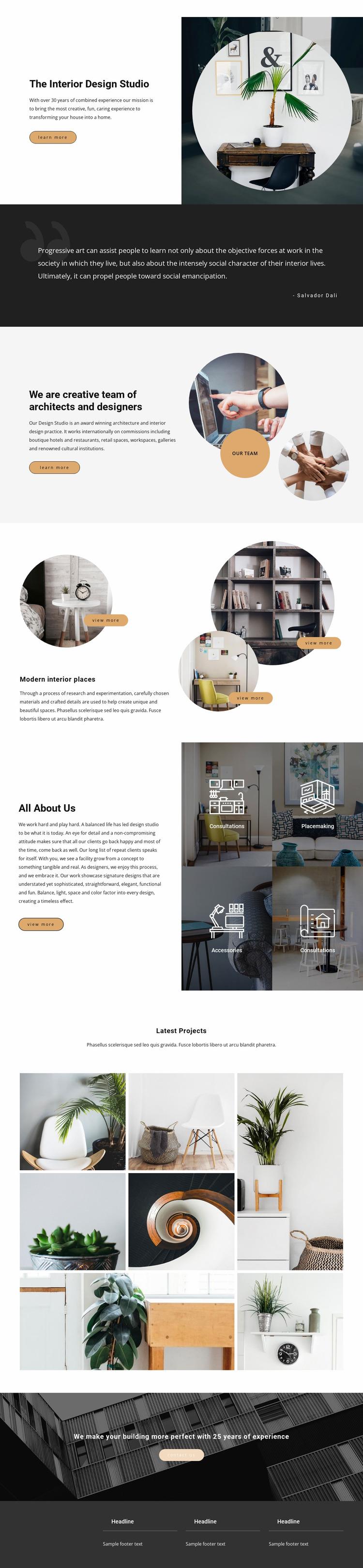 Interior innovations Website Mockup