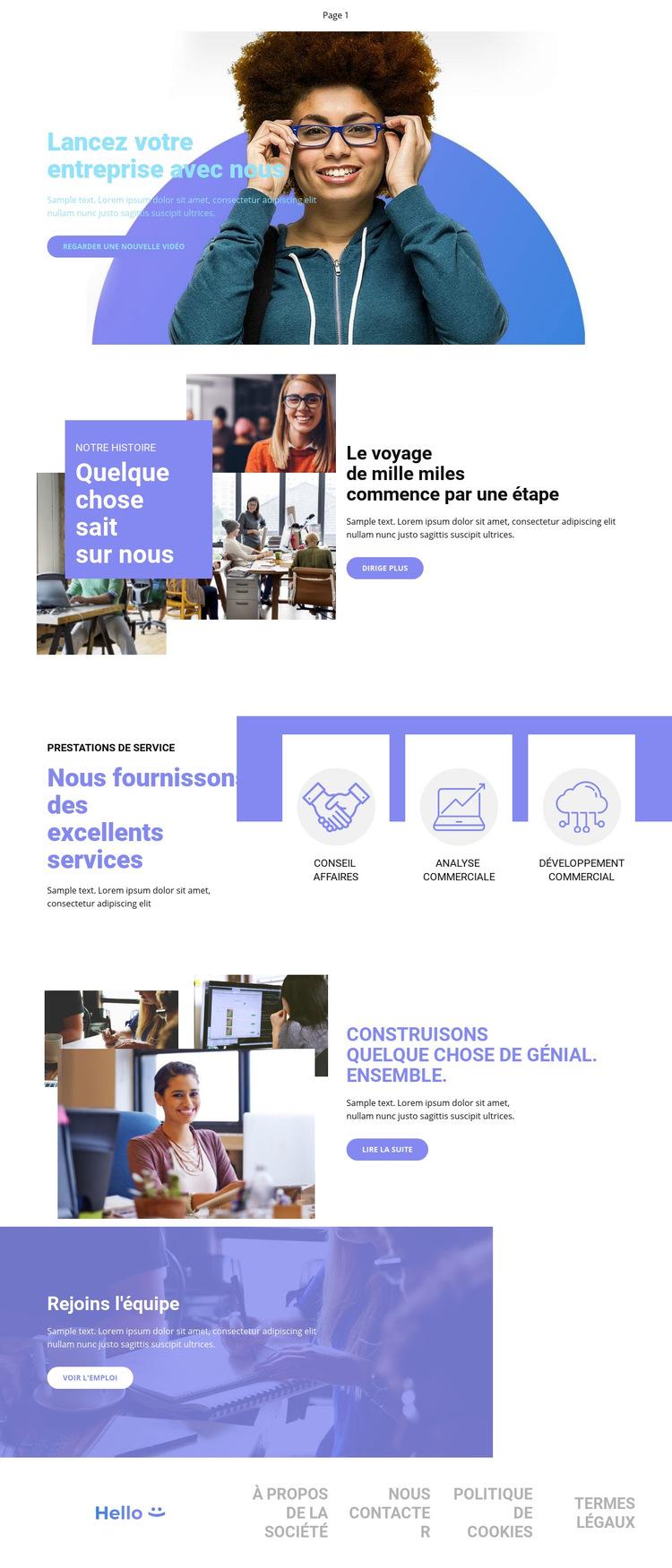 Lancez votre entreprise Modèle de site Web