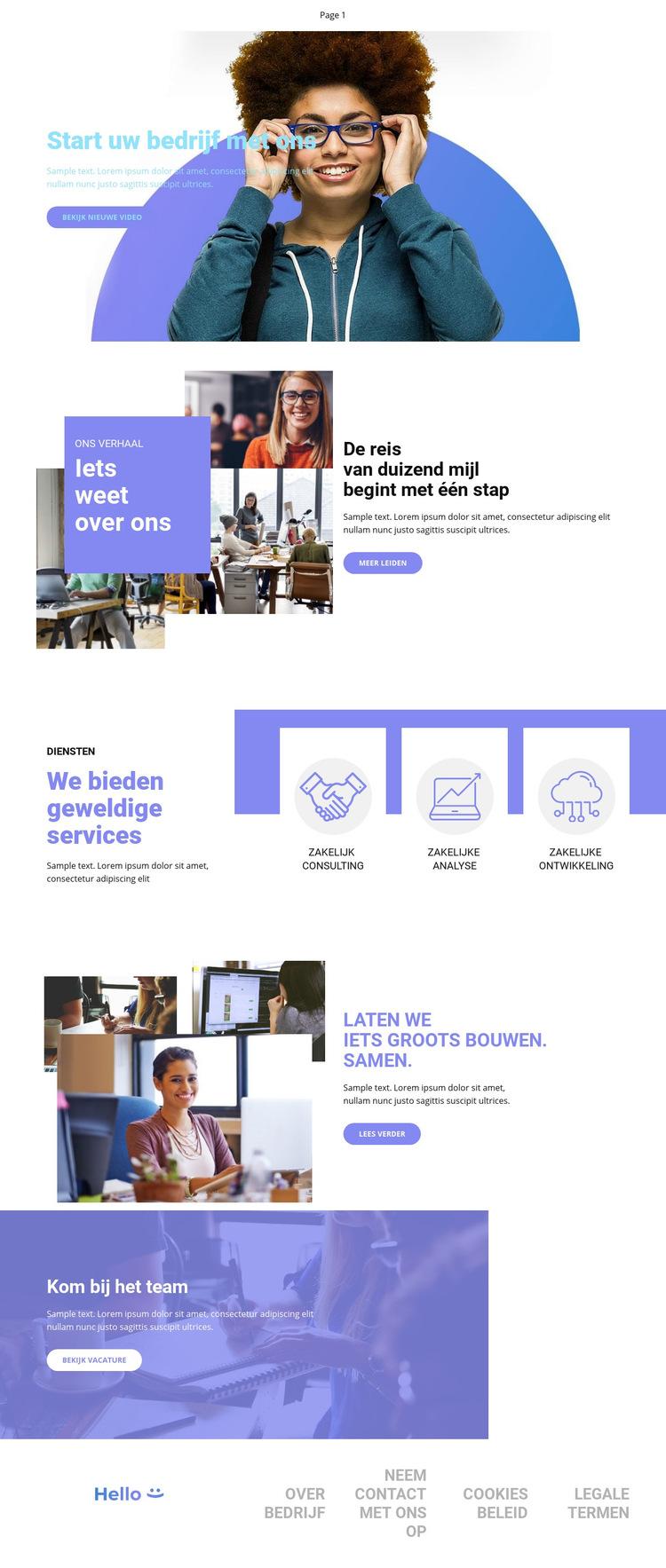 Start uw bedrijf Website sjabloon