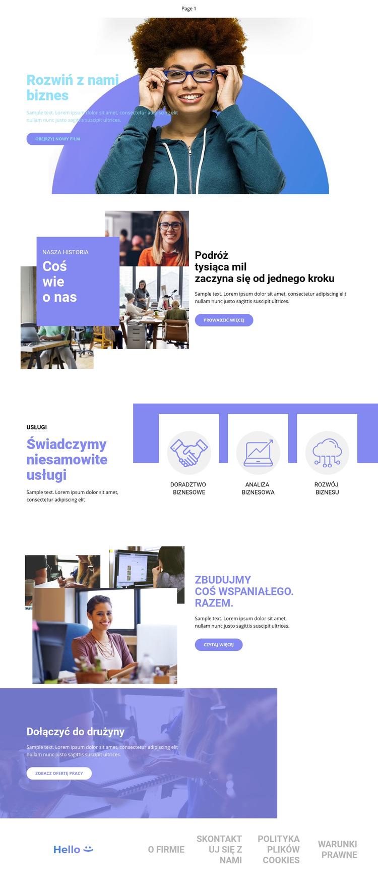Rozkręć swój biznes Szablon witryny sieci Web