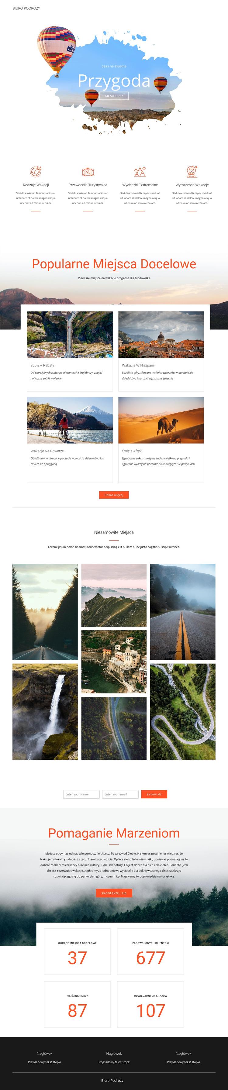 Wycieczki przygodowe i podróże Szablon witryny sieci Web