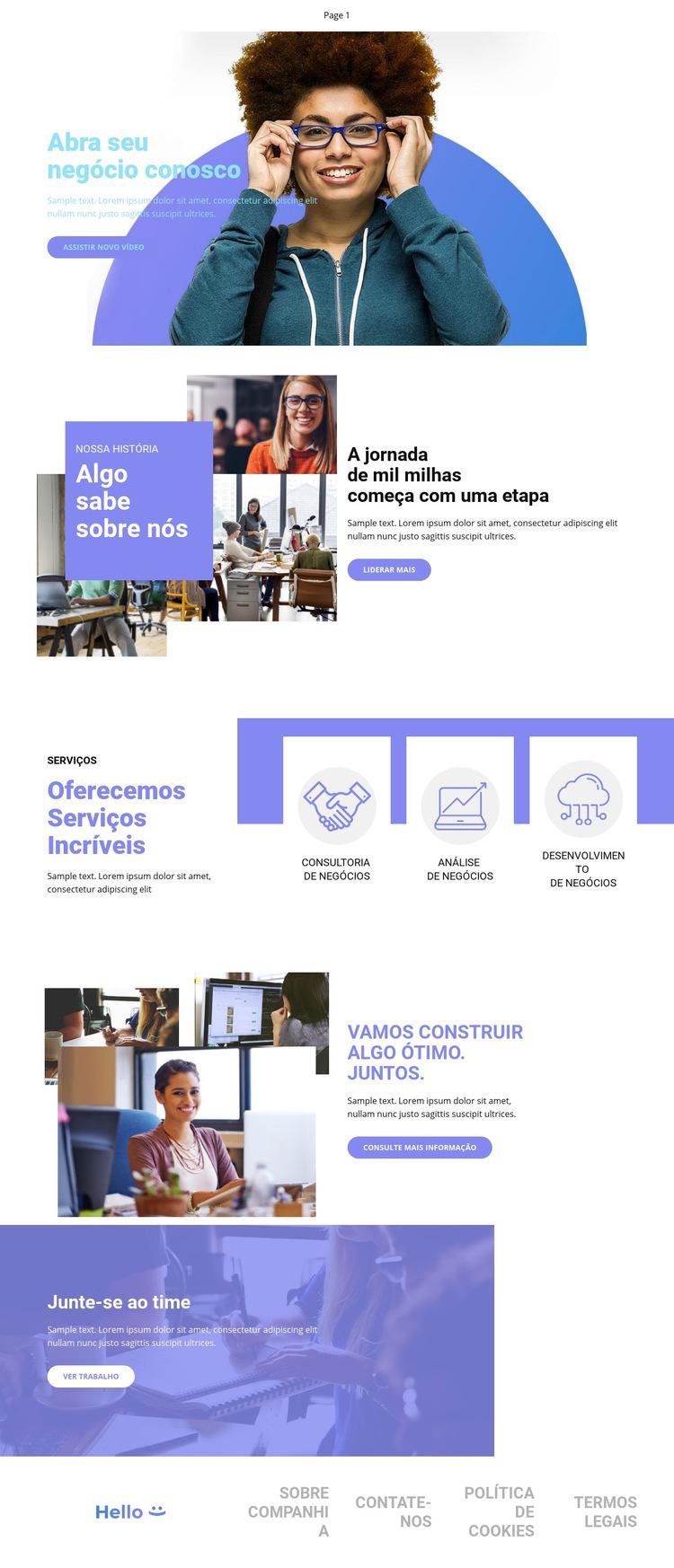 Abra seu negócio Modelo de site