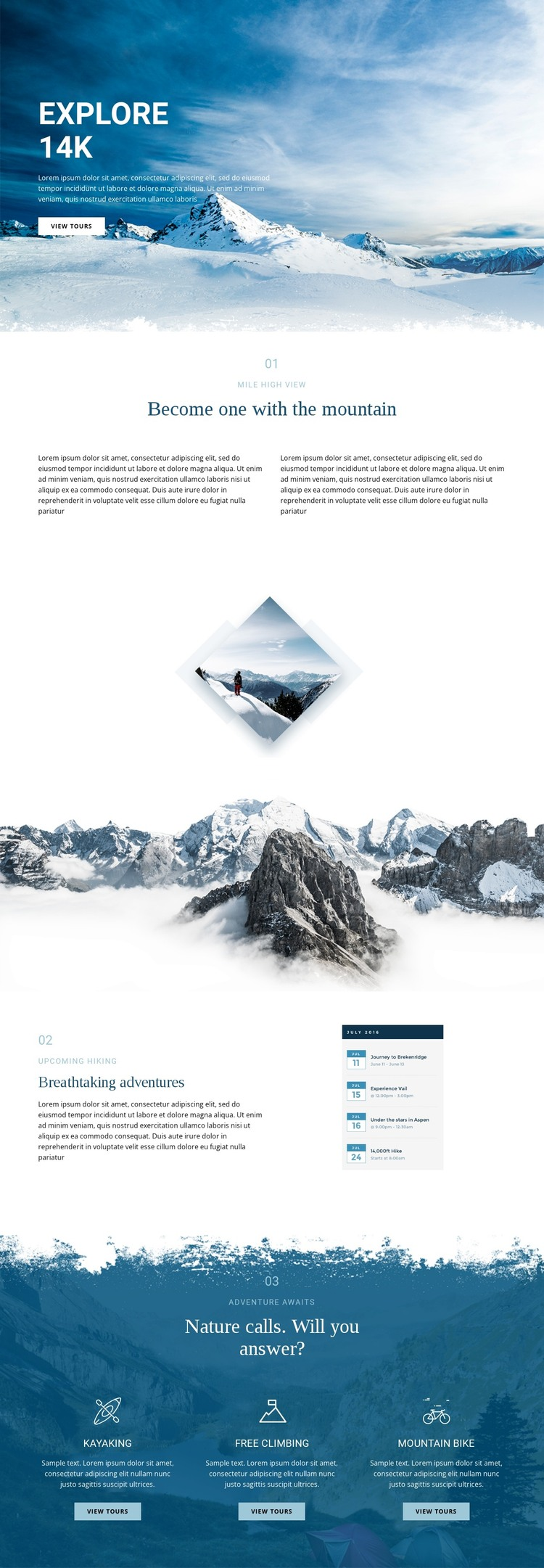Explore wonderful nature HTML Template