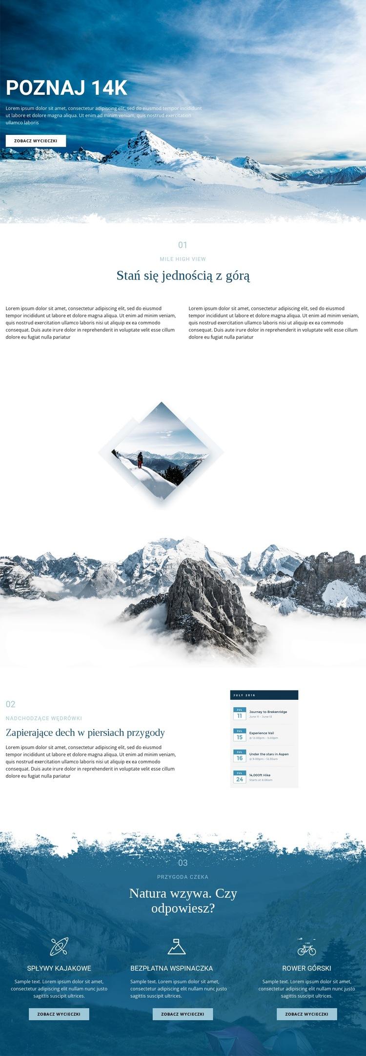 Poznaj wspaniałą przyrodę Szablon witryny sieci Web