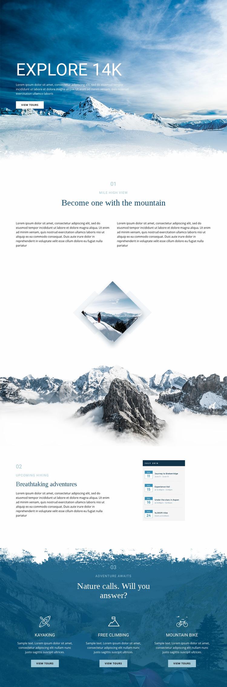 Explore wonderful nature Web Page Design
