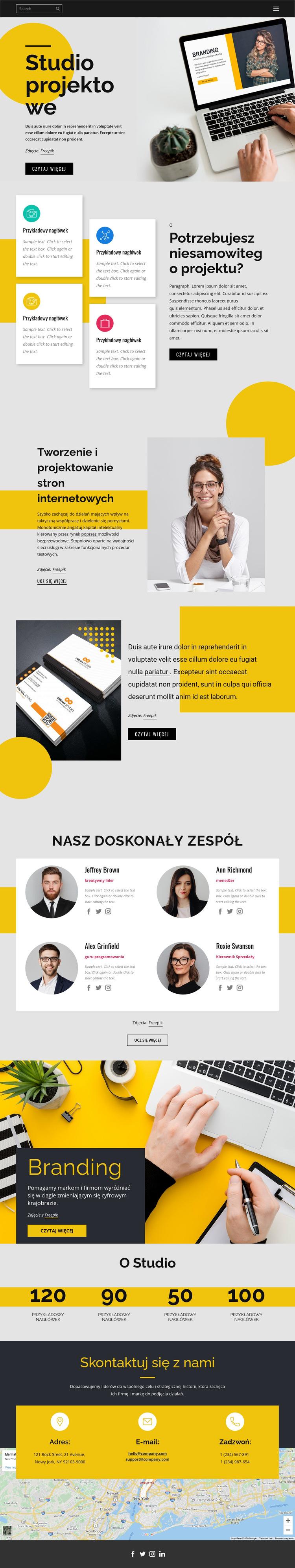 Projektowanie marki, druku i stron internetowych Szablon witryny sieci Web