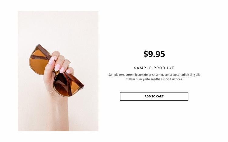 Sunglasses product details Website Builder