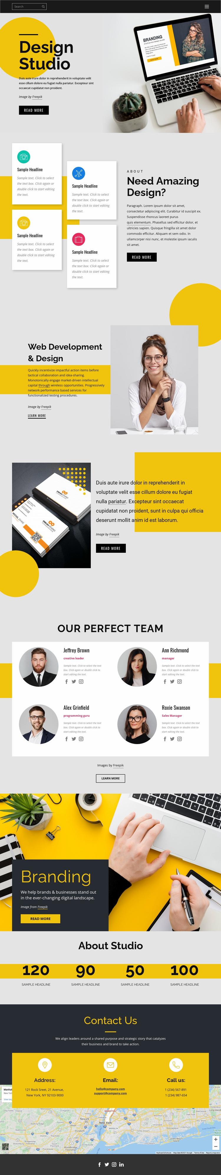 Brand, print & web design Landing Page